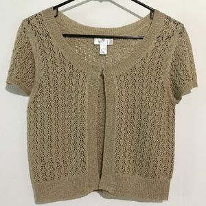 Ann Taylor Loft Brown Crochet Cardigan